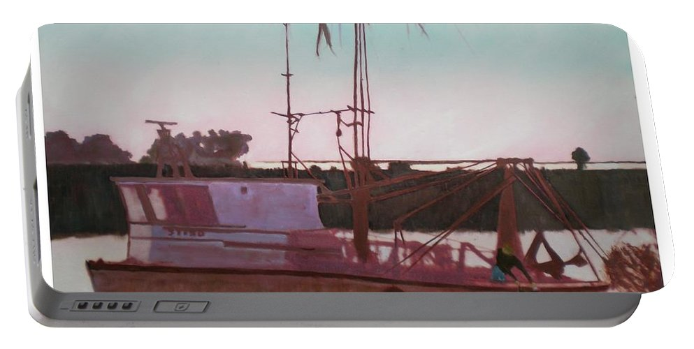 Seascape Portable Battery Charger featuring the digital art Yankee Town Fishing Boat by Hal Newhouser