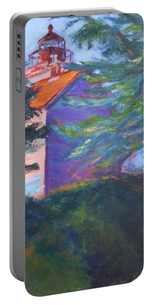 Quin Sweetman Portable Battery Charger featuring the painting Yaquina Bay Lighthouse by Quin Sweetman