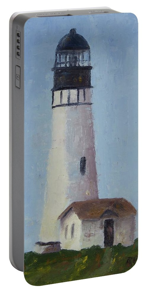 Yaquina Head Lighthouse Is Close To Newport Portable Battery Charger featuring the painting Yaqunia Head Lighthouse by Rosie Phillips