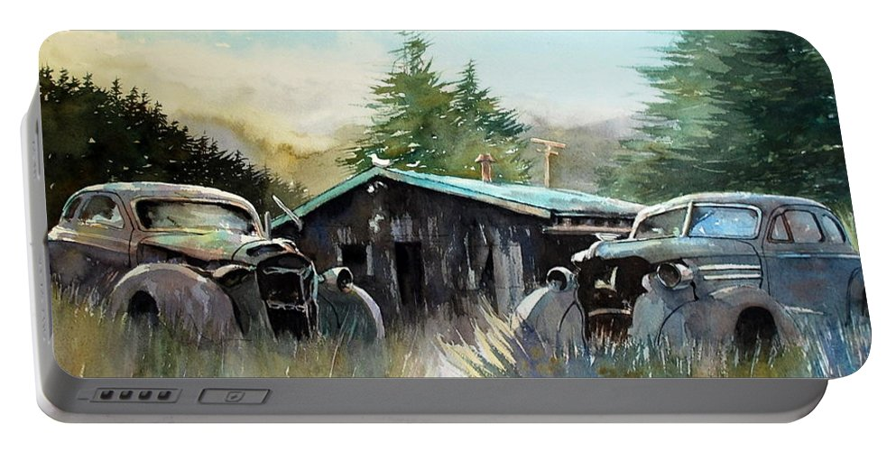 Rusty Cars Portable Battery Charger featuring the painting Yard Mates by Ron Morrison