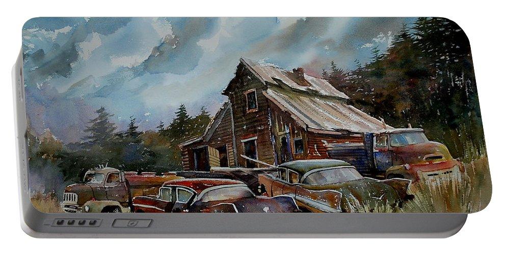 Cars Barn Wrecks Portable Battery Charger featuring the painting Yardmates by Ron Morrison
