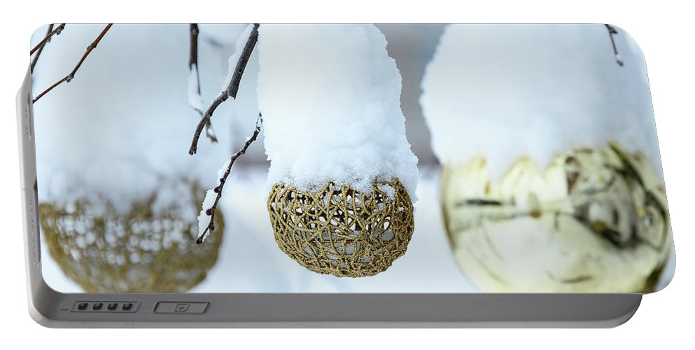Snow Portable Battery Charger featuring the photograph Yarn In The Snow by Nicola Simeoni