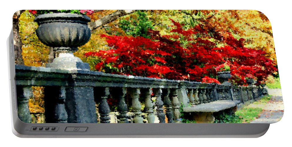 Rail Portable Battery Charger featuring the digital art Ye Olde Garden Bench by Kristin Elmquist