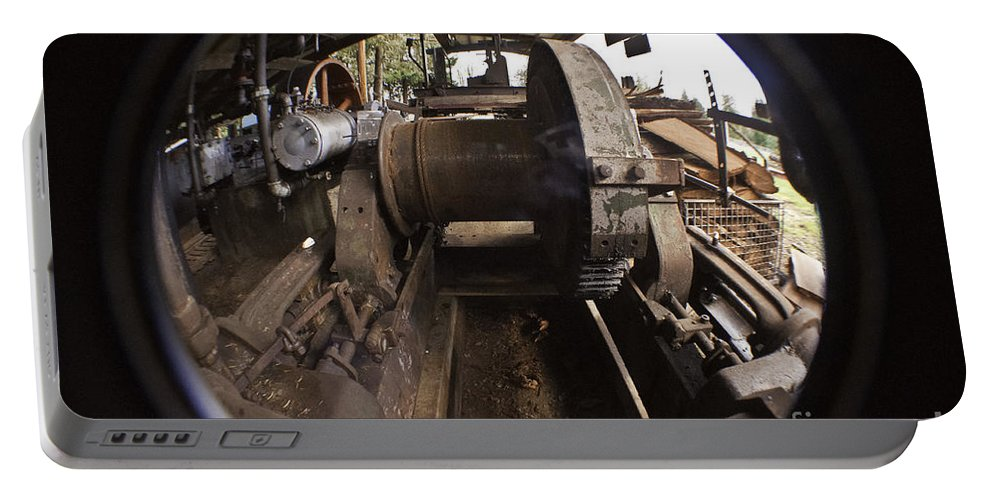 Clay Portable Battery Charger featuring the photograph Ye Olde Logging Camp by Clayton Bruster