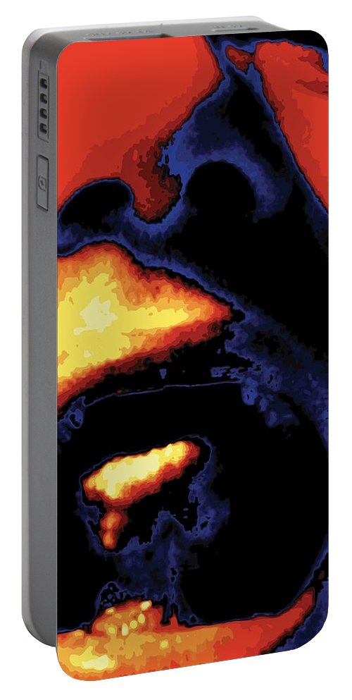 Abstract Portable Battery Charger featuring the digital art Yeller, No. 1 by James Kramer