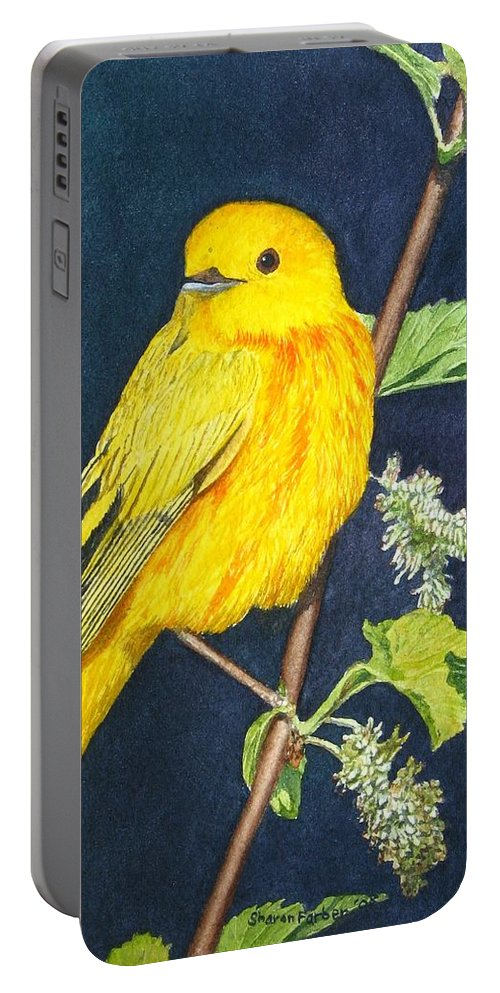 Bird Portable Battery Charger featuring the painting Yelllow Warbler by Sharon Farber