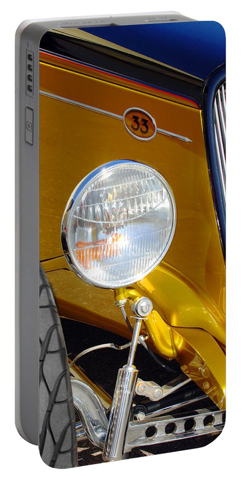 Hot Rod Portable Battery Charger featuring the photograph Yellow And Blue Hot Rod Headlight by Jill Reger