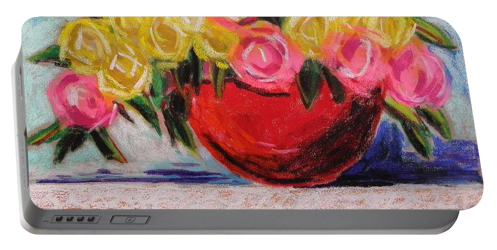 Floral Portable Battery Charger featuring the drawing Yellow And Pink by John Williams
