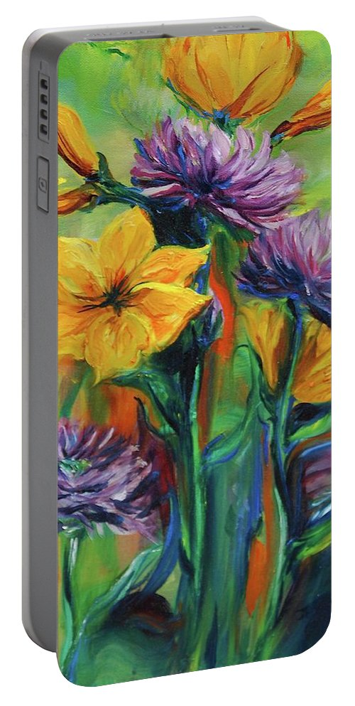 Flowers Portable Battery Charger featuring the painting Yellow And Purple Flowers by Jennifer Christenson