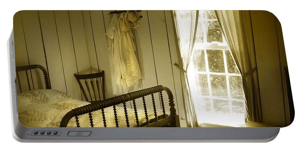 Bedroom Portable Battery Charger featuring the photograph Yellow Bedroom Light by Mal Bray