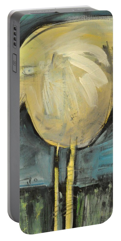 Yellow Portable Battery Charger featuring the painting Yellow Bird In Field by Tim Nyberg