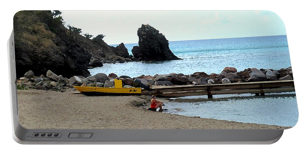 Beach Portable Battery Charger featuring the photograph Yellow Boat On The Beach by Ian MacDonald