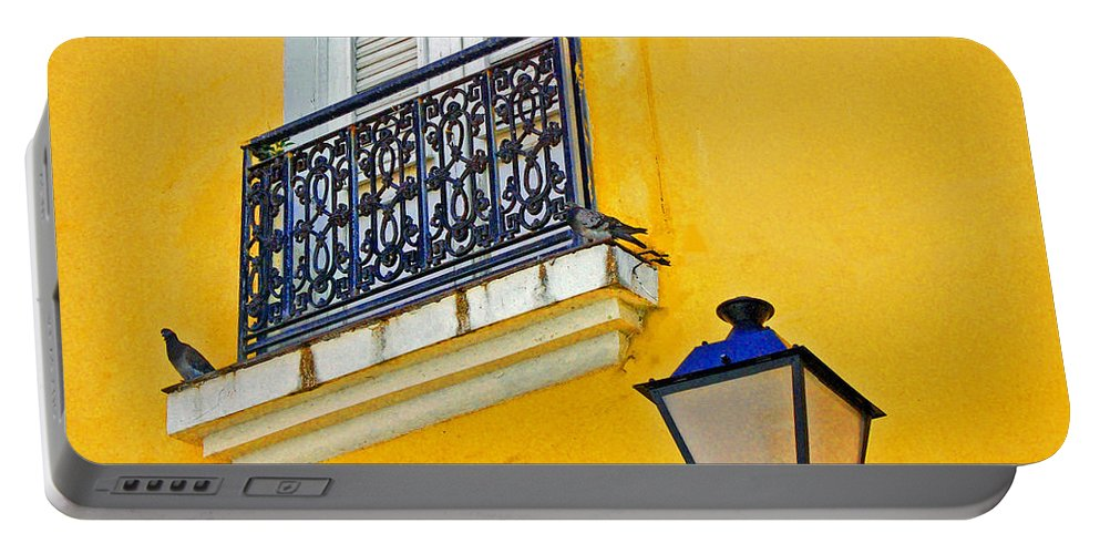 Pigeon Portable Battery Charger featuring the photograph Yellow Building by Debbi Granruth