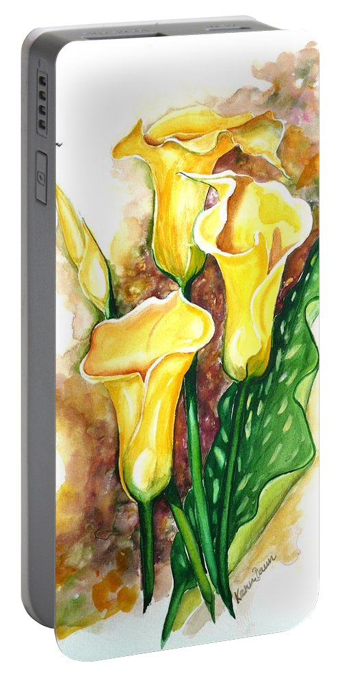 Flower Paintings Floral Paintings `yellow Flower Paintings  Lily Paintings Calla Lily Paintings  Botanical Paintings Greeting Card Paintings Canvas Print Paintings Poster Print Paintings Portable Battery Charger featuring the painting Yellow Callas by Karin Dawn Kelshall- Best