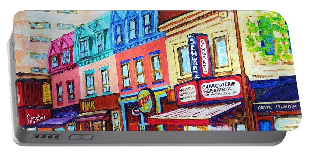Reastarant Portable Battery Charger featuring the painting Yellow Car At The Smoked Meat Lineup by Carole Spandau