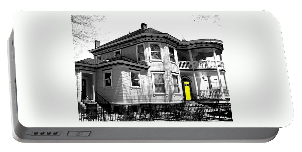 House Portable Battery Charger featuring the digital art Yellow Door by Will Borden