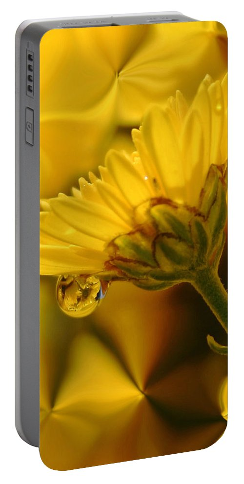 Flowers Portable Battery Charger featuring the photograph Yellow Drip by Linda Sannuti