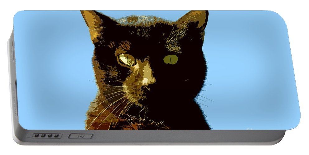 Cat Portable Battery Charger featuring the painting Yellow Eyes by David Lee Thompson