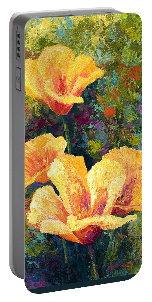 Poppies Portable Battery Charger featuring the painting Yellow Field Poppies by Marion Rose