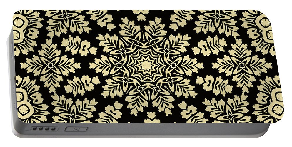 Yellow Portable Battery Charger featuring the digital art Yellow Floral Ornament Design by Long Shot