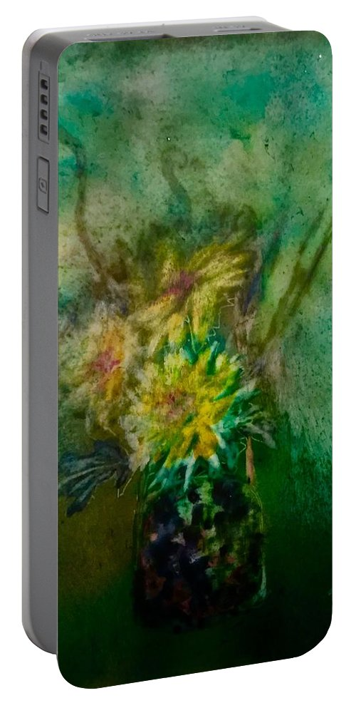 Flower Portable Battery Charger featuring the painting Yellow Flower by Julia Shapiro