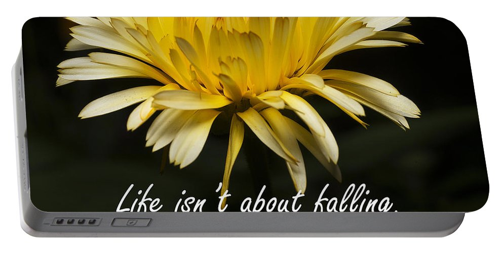 Flower Portable Battery Charger featuring the photograph Yellow Flower With Inspirational Text by Donald Erickson