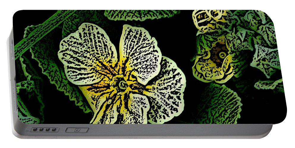 Floral Portable Battery Charger featuring the digital art Yellow Flower Woodcut by David Lane