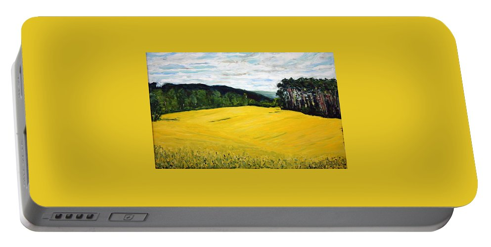 Landscape Portable Battery Charger featuring the painting Yellow Ground by Pablo de Choros