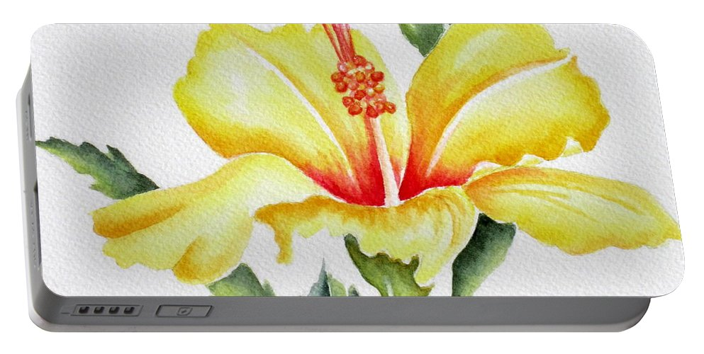 Hibiscus Portable Battery Charger featuring the painting Yellow Hibiscus by Deborah Ronglien