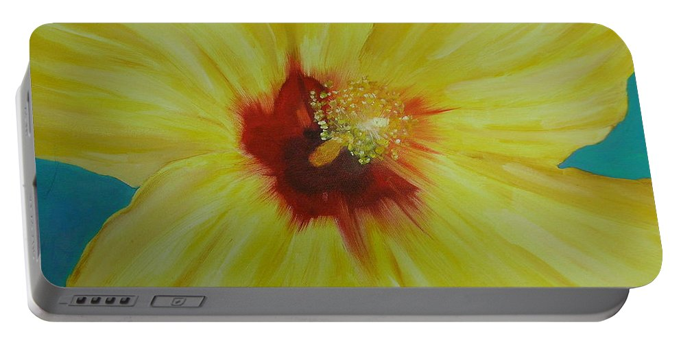 Flower Portable Battery Charger featuring the print Yellow Hibiscus by Melinda Etzold