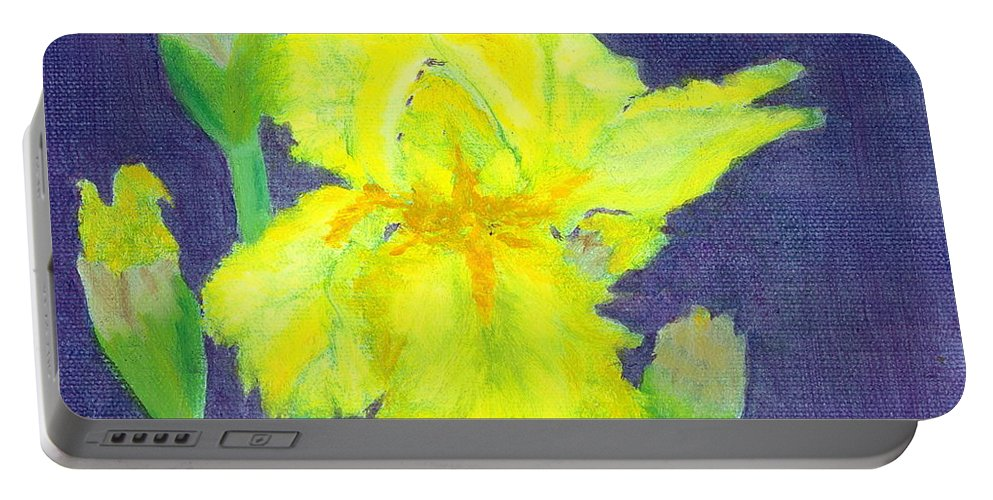 Iris Portable Battery Charger featuring the painting Yellow Iris by Paula Emery