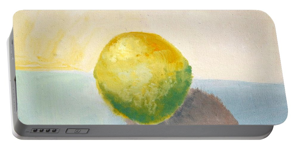 Lemon Portable Battery Charger featuring the painting Yellow Lemon Still Life by Michelle Calkins