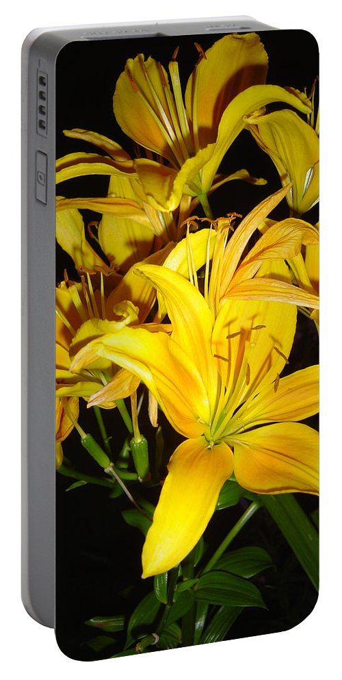 Yellow Lilies Bouquet Portable Battery Charger featuring the photograph Yellow Lilies by Joanne Smoley