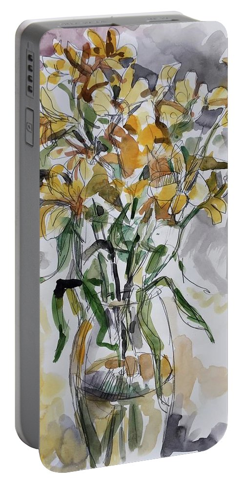 Yellow Lillies Portable Battery Charger featuring the painting Yellow Lillies by Abbie Rabinowitz