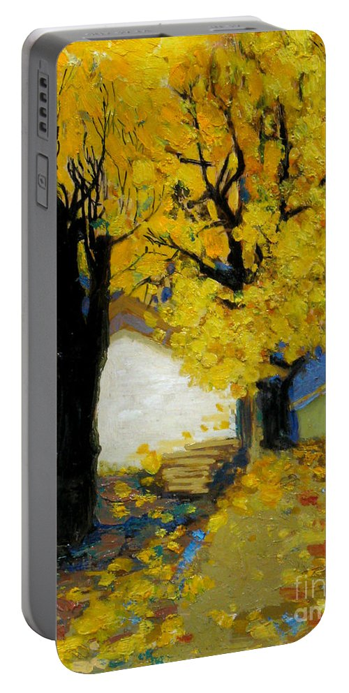 Yellow Portable Battery Charger featuring the painting Yellow by Meihua Lu