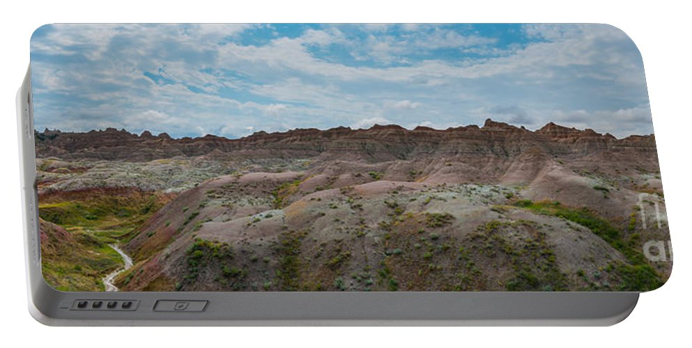 Yellow Mounds Portable Battery Charger featuring the photograph Yellow Mounds Panorama At Badlands South Dakota by Michael Ver Sprill