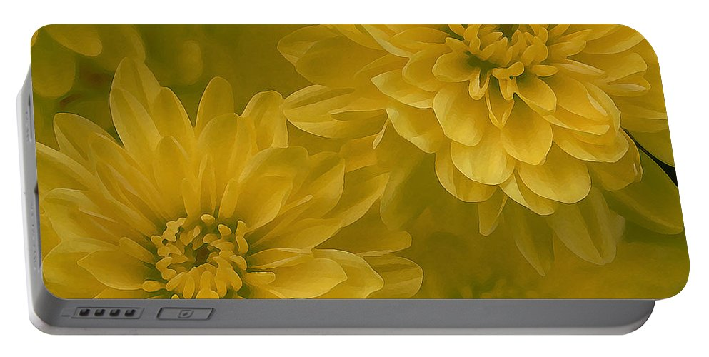 Yellow Mum Art Portable Battery Charger featuring the photograph Yellow Mums by Linda Sannuti