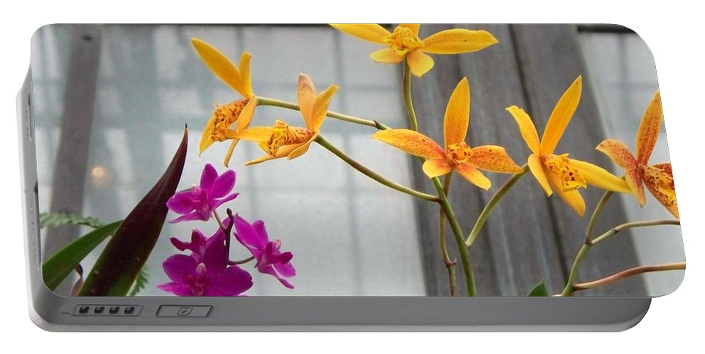 Yellow Portable Battery Charger featuring the painting Yellow Orange And Purple Flowers by Eric Schiabor
