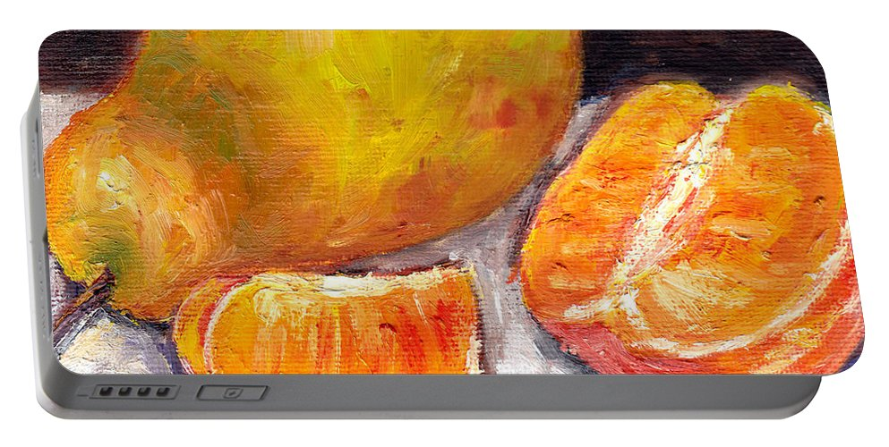 Still Life Portable Battery Charger featuring the painting Yellow Pear With Tangerine Slices Grace Venditti Montreal Art by Grace Venditti
