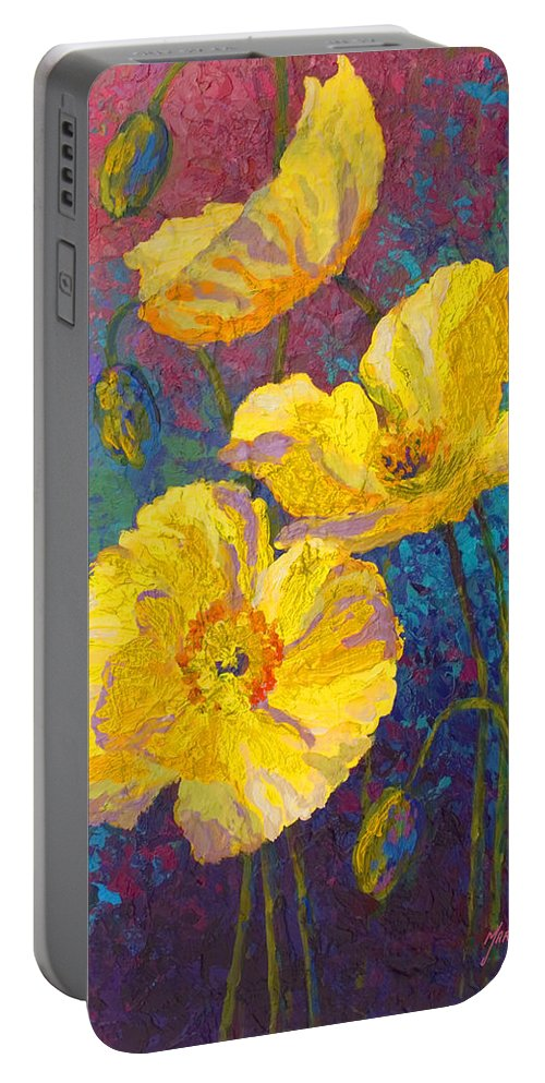 Poppies Portable Battery Charger featuring the painting Yellow Poppies by Marion Rose