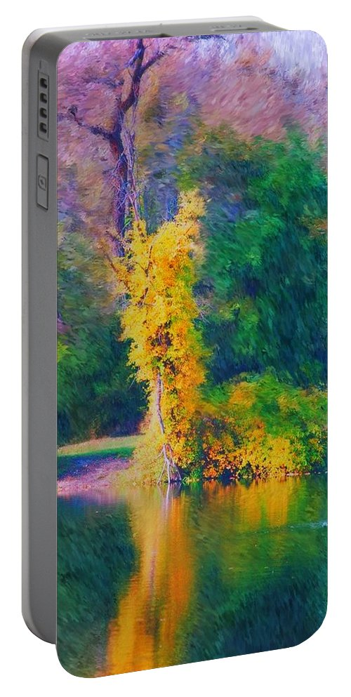 Digital Landscape Portable Battery Charger featuring the digital art Yellow Reflections by David Lane