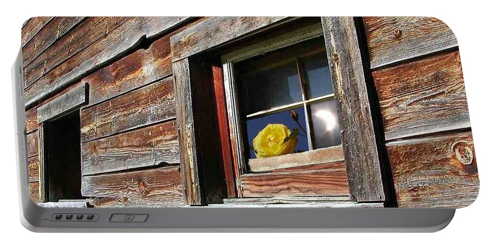Barn Portable Battery Charger featuring the digital art Yellow Rose Eclipse by Tim Allen