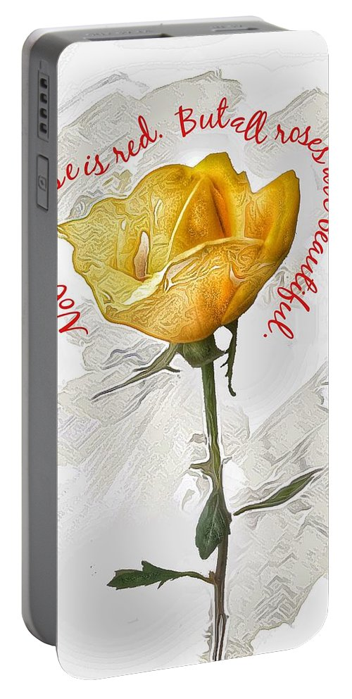 Creative Editing Portable Battery Charger featuring the photograph Yellow Rose by Joe LeGrand