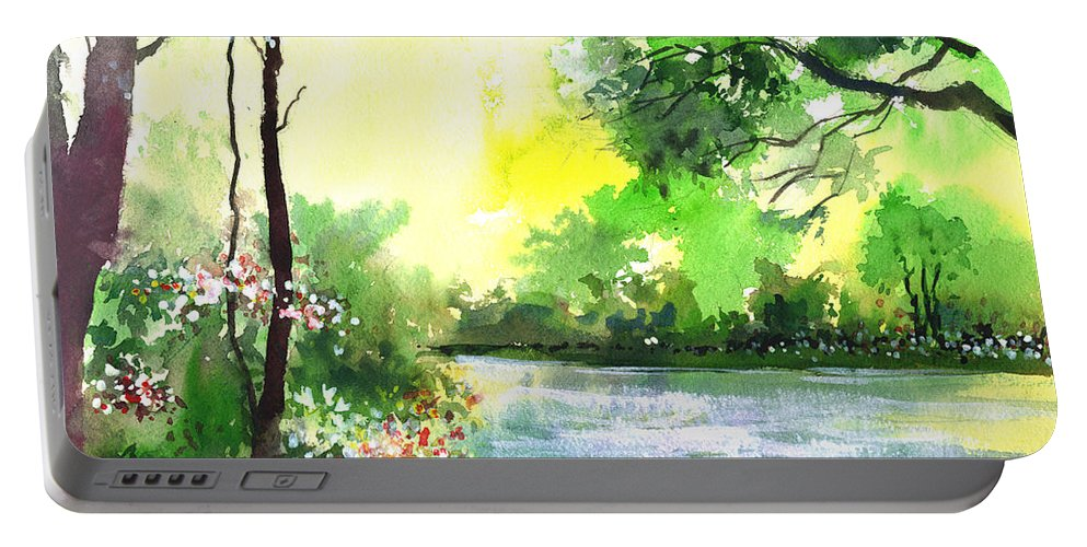 Sky Portable Battery Charger featuring the painting Yellow Sky by Anil Nene