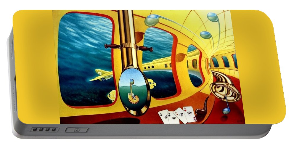 Art Oil Painting Canvas Yellow Submarine Nautilus Trompet Corn Music Portable Battery Charger featuring the painting Yellow Submarine by Gyuri Lohmuller