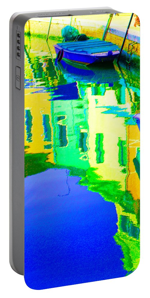 Yellow Portable Battery Charger featuring the digital art Yellow Toned Reflections by Donna Corless