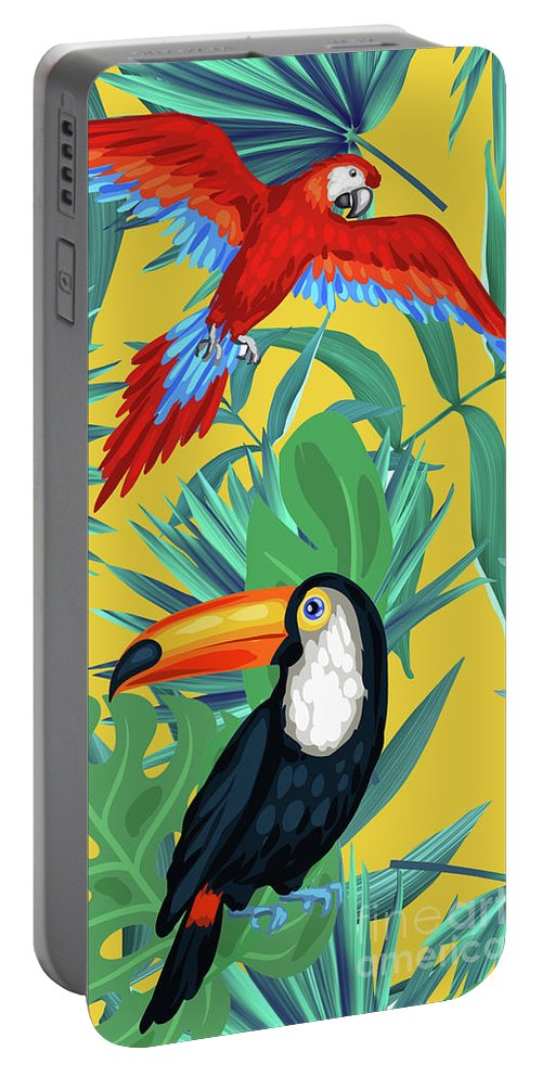 Parrot Portable Battery Charger featuring the digital art Yellow Tropic by Mark Ashkenazi