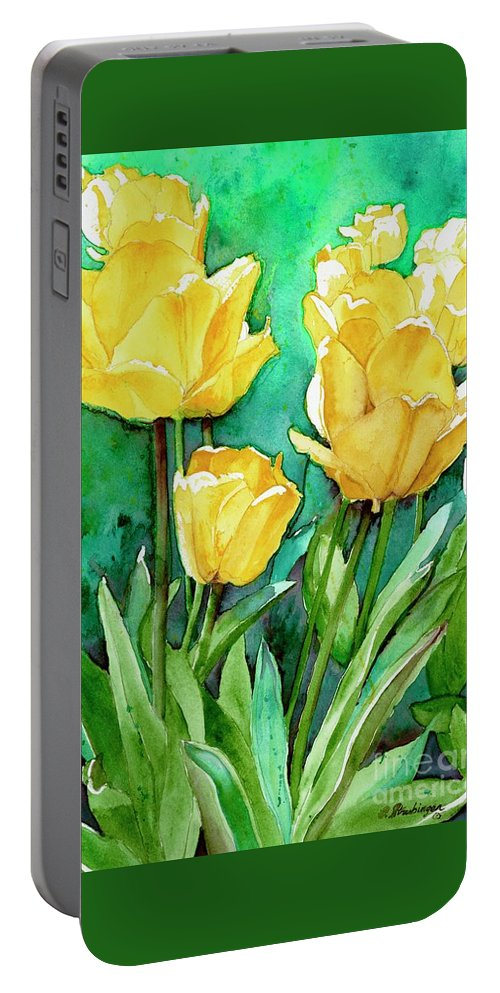 Tulips Portable Battery Charger featuring the painting Yellow Tulips by Patty Strubinger