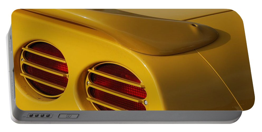Corvette Portable Battery Charger featuring the photograph Yellow Vette Lights by Rob Hans