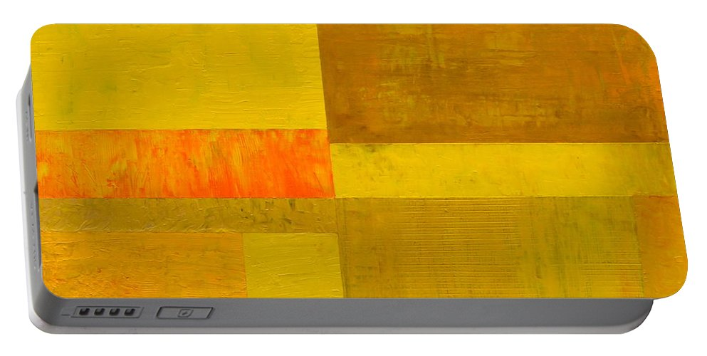 Yellow Portable Battery Charger featuring the painting Yellow With Orange by Michelle Calkins